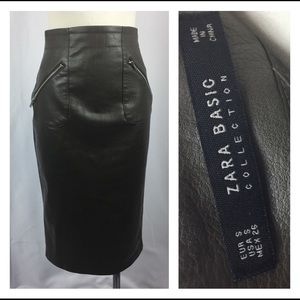 Zara Basic Women's Faux Leather Pencil Skirt Olive